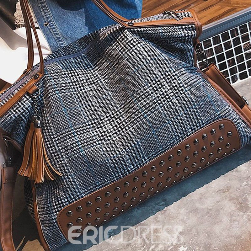 Ericdress Plaid Wool Blends Rectangle Tote Bags