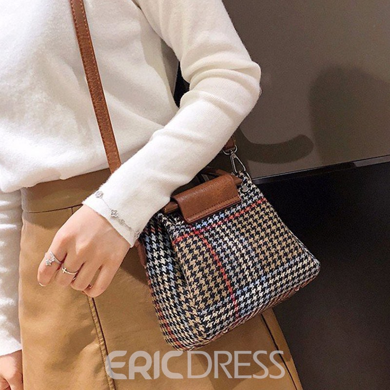 Ericdress Print Houndstooth Rectangle Tote Bags