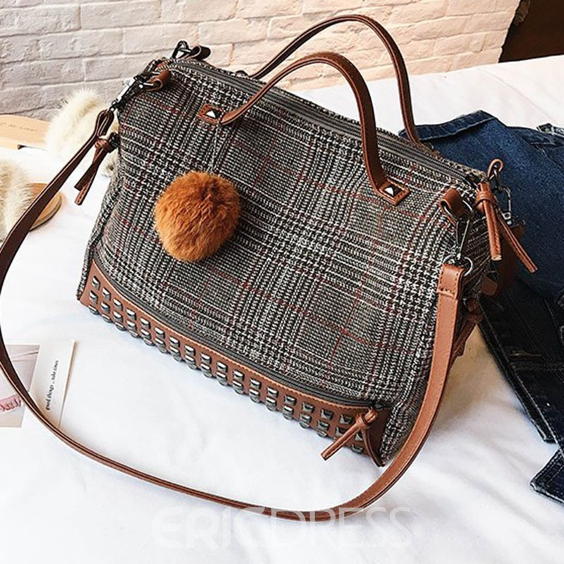 Ericdress Plaid Rivets Rectangle Tote Bags