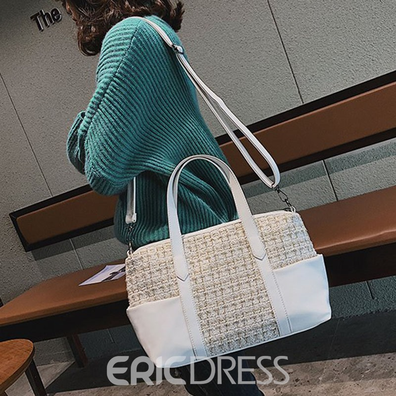 Ericdress PU Plain Zipper Rectangle Tote Bags