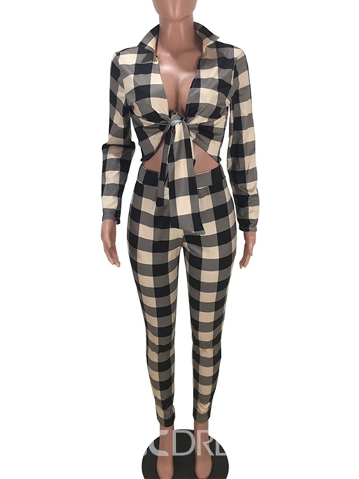 Ericdress Plaid Sexy V-Neck Two Piece Sets