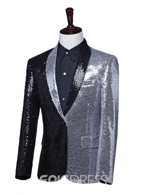 Ericdress Color Block Button Fashion Polyester Stage Costumes Men's Blazers