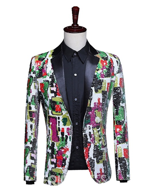 Ericdress Button Color Block Stage Costumes Men's Blazers