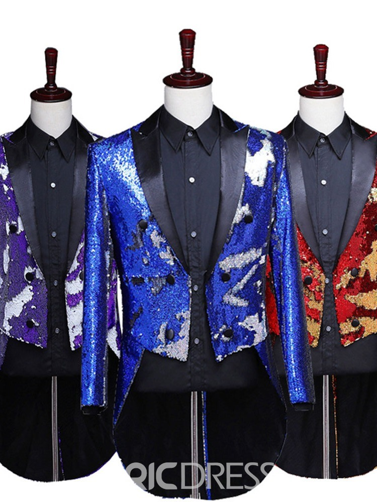 Ericdress Color Block Button Fashion Stage Costumes Men's Blazers