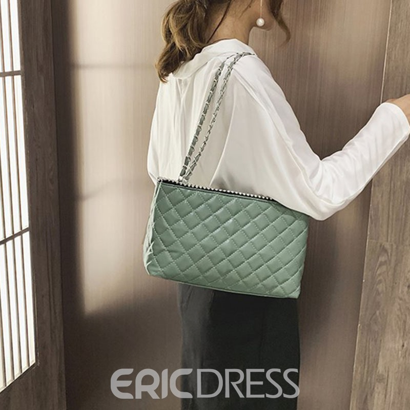 Ericdress PU Plaid Rectangle Shoulder Bags
