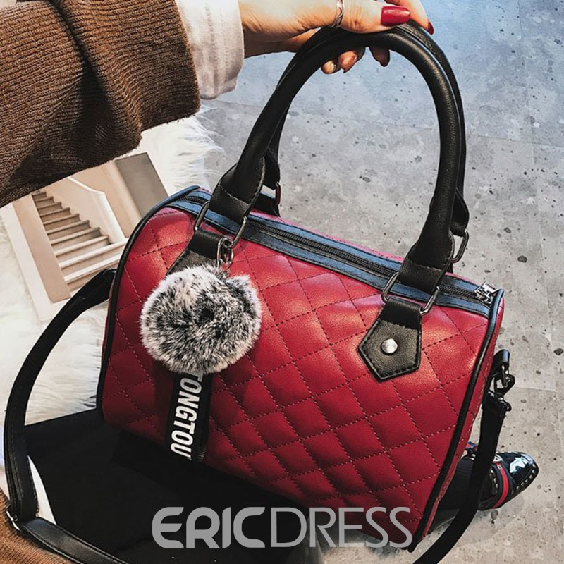 Ericdress Plaid PU Pillow Tote Bags