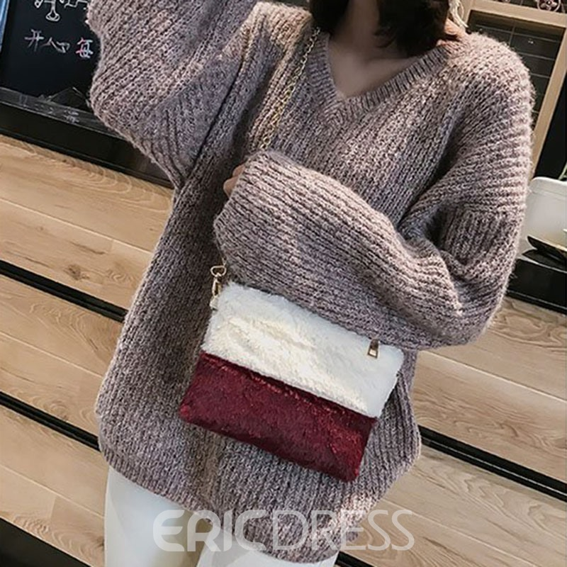 Ericdress Patchwork Rectangle Crossbody Bags