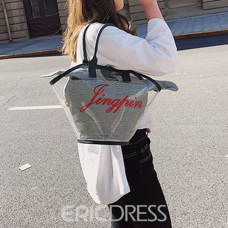Ericdress Print PVC Stripe Barrel-Shaped Tote Bags