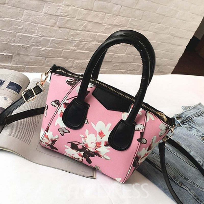 Ericdress Print Floral Zipper Rectangle Tote Bags