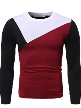 Ericdress Color Block Round Neck Korean Men's Slim Shirt