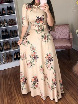 Ericdress Print Half Sleeve Floor-Length Floral Expansion Round Neck Dress