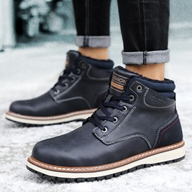Ericdress Round Toe Color Block Lace-Up Front Men's Snow Boots