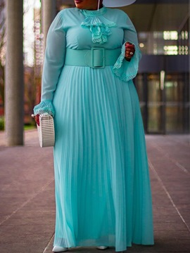 Ericdress Plus Size Stand Collar Long Sleeve Pleated High Waist Elegant Dress