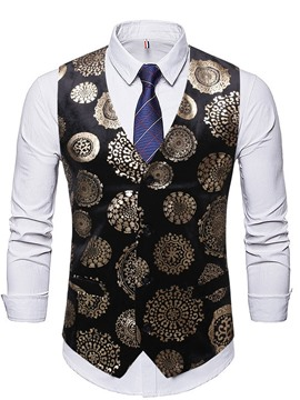 Ericdress V-Neck Color Block Print Spring European Men's Waistcoat