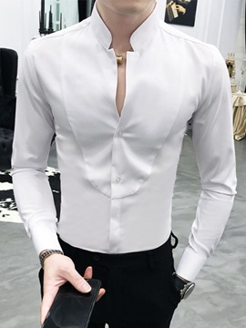 Ericdress Button Stand Collar Plain Slim Single-Breasted Men's Shirt