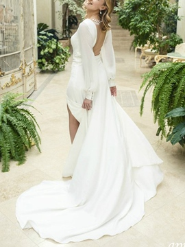 Ericdress Split-Front Long Sleeves Sheer Back Wedding Dress 2019