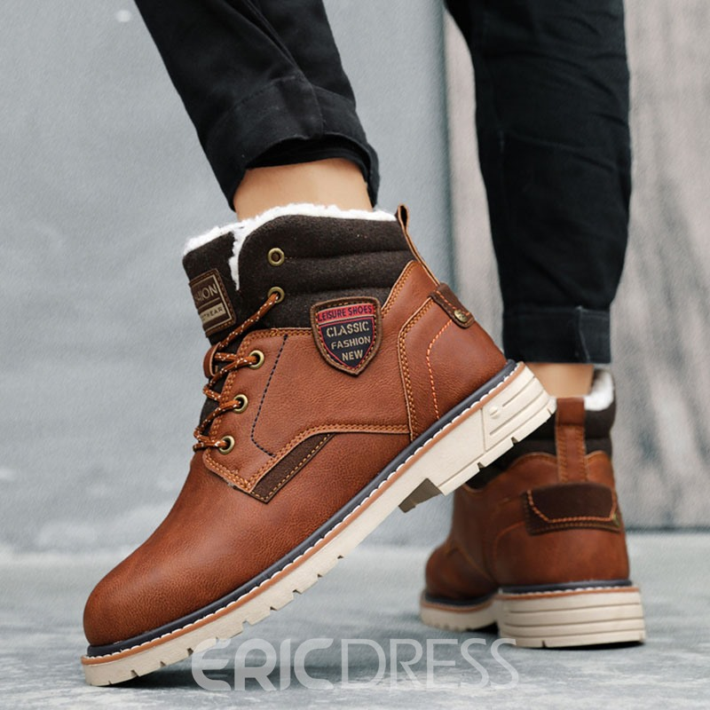Ericdress Round Toe Lace-Up Front Color Block Men's Work Boots