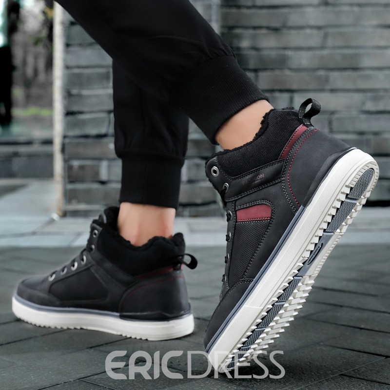 Ericdress Patchwork Lace-Up Front Round Toe Men's Snow Boots
