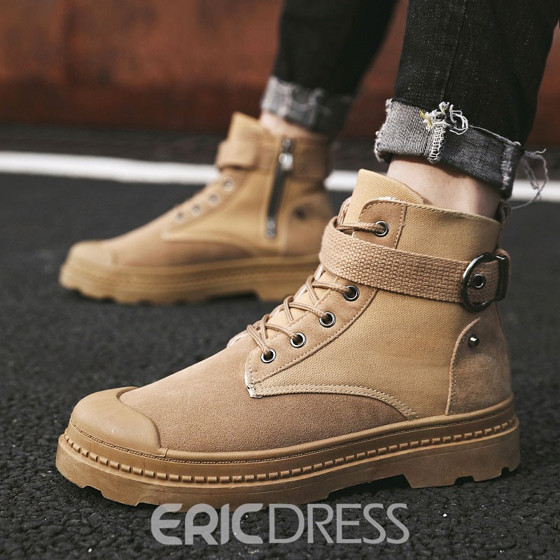 Ericdress Side Zipper Round Toe Patchwork Men's Boots