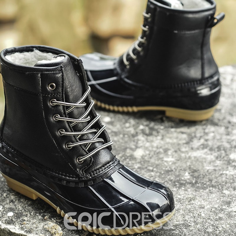 Ericdress Color Block Lace-Up Front Round Toe Men's Boots