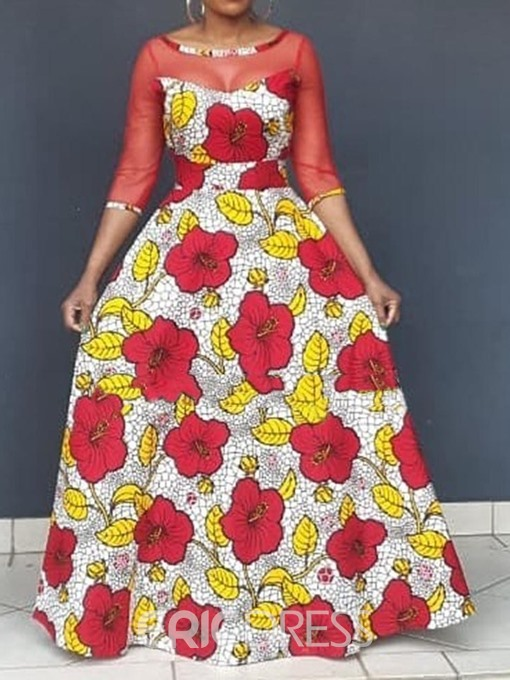 Ericdress African Fashion Round Neck Floor-Length Patchwork Floral Expansion See-Through Dress