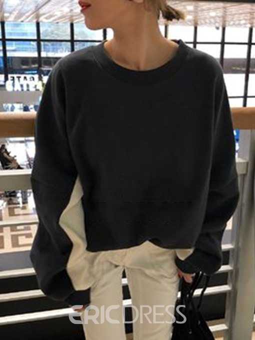 Ericdress Color Block Patchwork Round Neck Mid-Length Hoodie