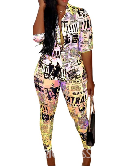 Ericdress Letter Print Geometric Two Piece Sets