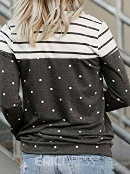 Ericdress Regular Bead Color Block Standard Round Neck Hoodie