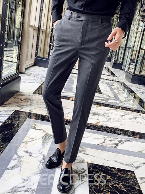 Ericdress Zipper Casual Ankle Length Men's Suit Trousers