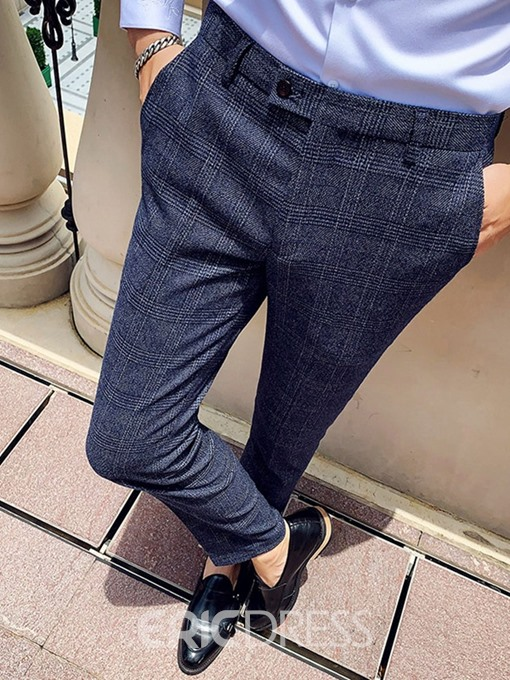 Ericdress Ankle Length Zipper Straight Men's Suit Trousers