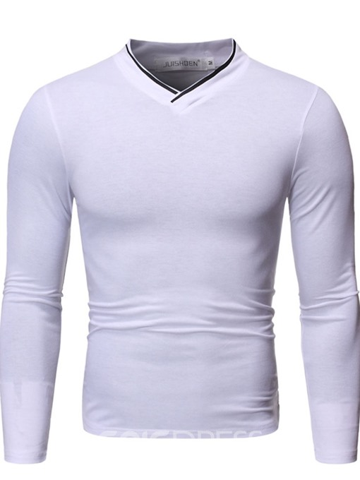 Ericdress V-Neck Color Block Korean Men's Slim Shirt
