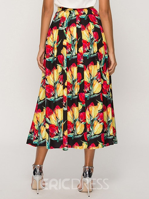 Ericdress Color Block Plant A-Line Print Skirt