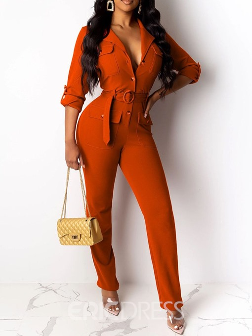 Ericdress Full Length Lace-Up Straight Slim Jumpsuit