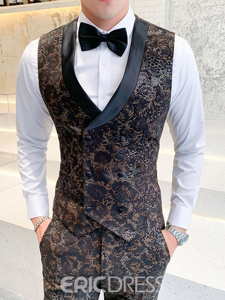 Ericdress Blazer Button Color Block Men's Dress Suit