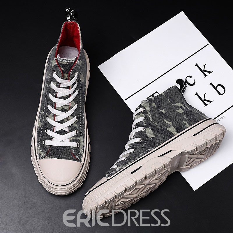 Ericdress Canvas Lace-Up Camouflage Round Toe Men's Skate Shoes