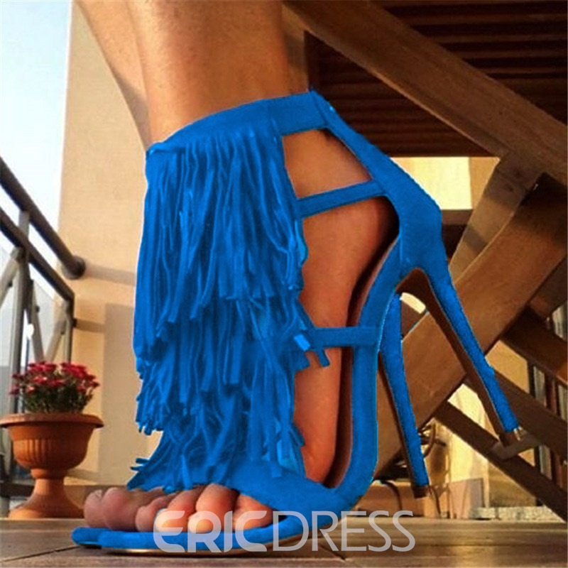Ericdress Faux Suede Fringe Heel Covering Zipper Stiletto Heel Women's Sandals