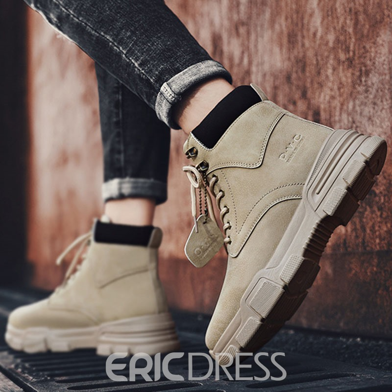 Ericdress Patchwork Round Toe Lace-Up Front Men's Boots