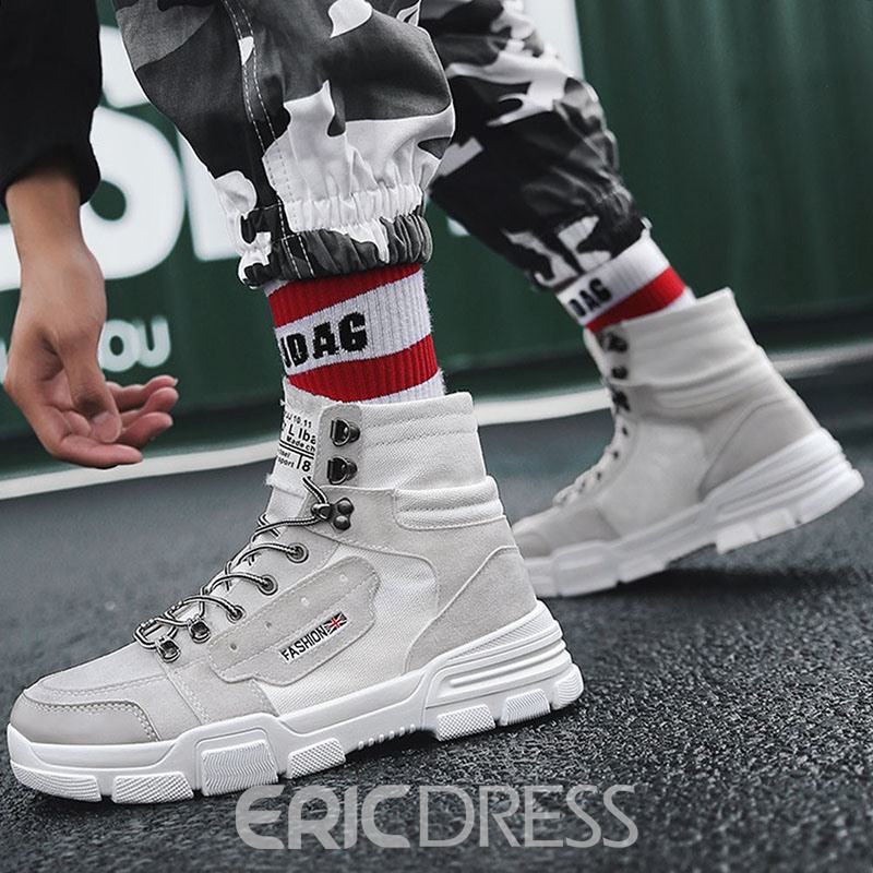 Ericdress Lace-Up Front Round Toe Patchwork Men's Canvas Boots