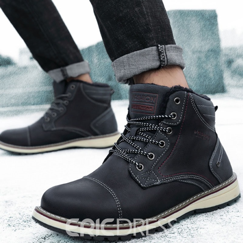 Ericdress Color Block Lace-Up Front Round Toe Men's Snow Boots