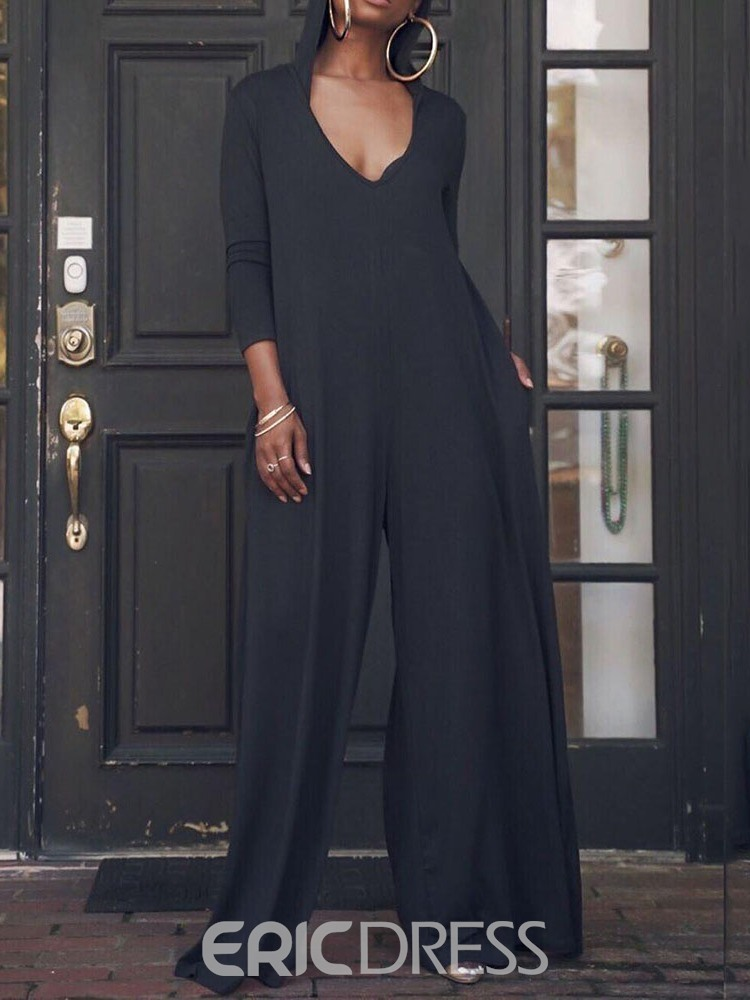 Ericdress Full Length Plain Loose Wide Legs Jumpsuit
