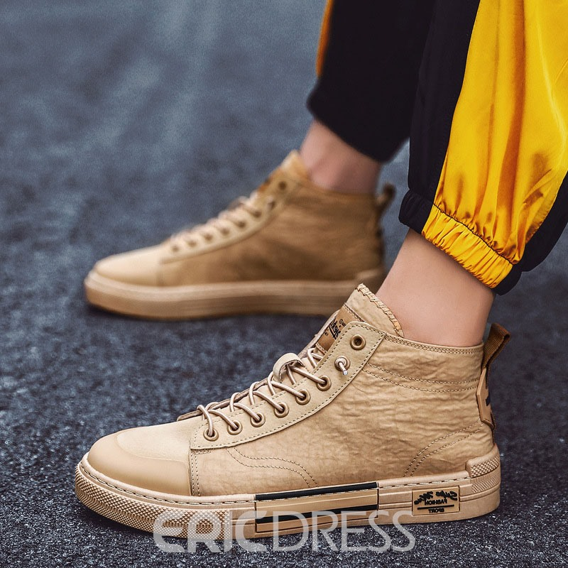 Ericdress Lace-Up Patchwork Mid-Cut Upper Round Toe Men's Skate Shoes