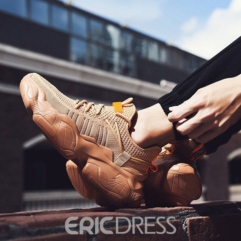 Ericdress Color Block Lace-Up Round Toe Men's Sports Shoes