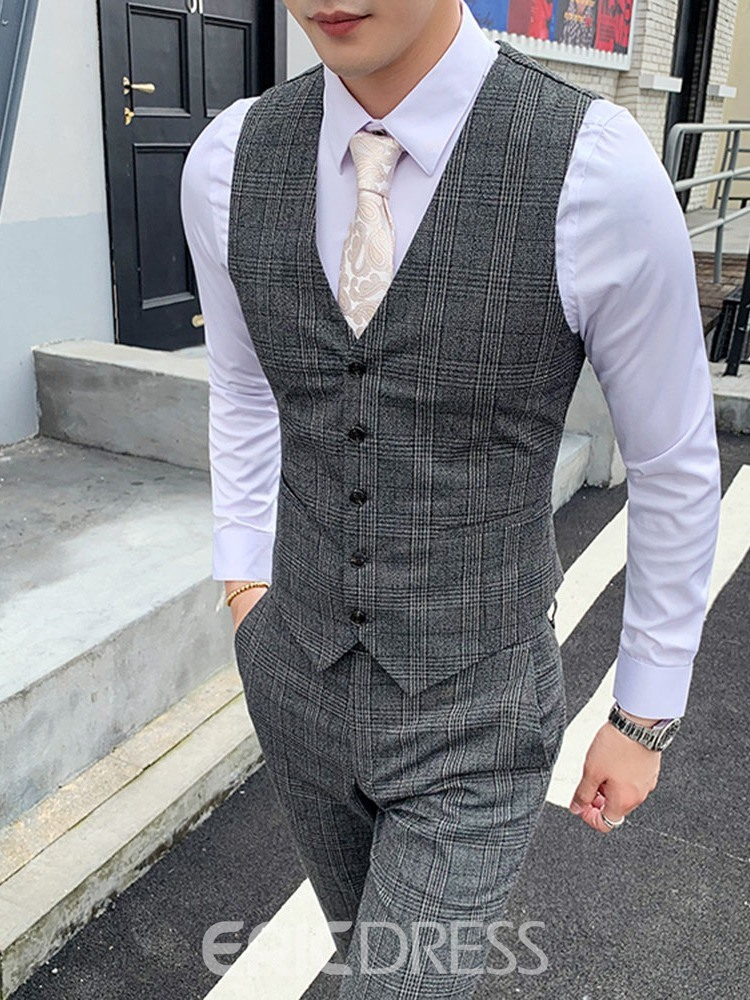 Ericdress Plaid Vest Print Men's Dress Suit