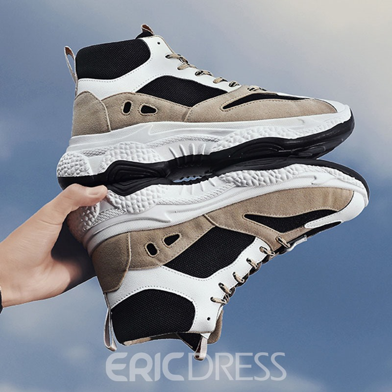 Ericdress PU Color Block Mid-Cut Upper Lace-Up Men's Sneakers