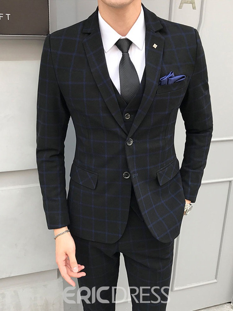 Ericdress Plaid Korean Button Men's Dress Suit