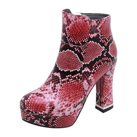 Ericdress Serpentine Chunky Heel Round Toe Side Zipper Women's Sexy Boots