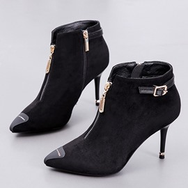 Ericdress Plain Stiletto Heel Front Zipper Women's Ankle Boots