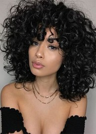 Ericdress Women's Heat Resistant Natural Black Afro Curly Synthetic Hair Soft Fluffy Capless Wigs 16Inch