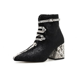 Ericdress Serpentine Color Block Chunky Heel Women's Ankle Boots