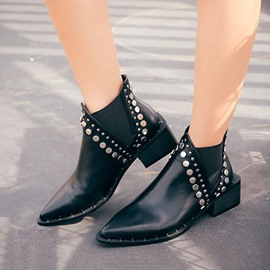 Ericdress Rivet Patchwork Pointed Toe Slip-On Women's Martin Boots